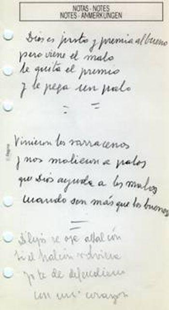 Anotaciones manuscritas de Delgado Valhondo. Su lectura revela el estupendo sentido del humor del poeta.